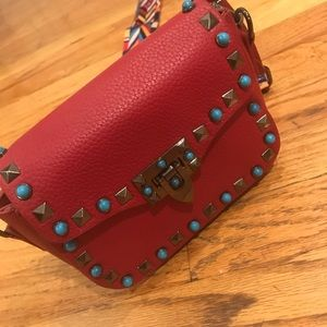 Red studded bag, Crossbody